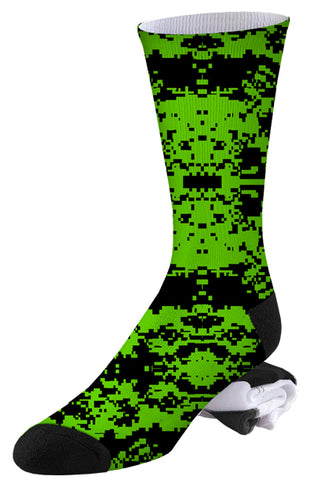 Lime Green and Black Digital Camo Socks