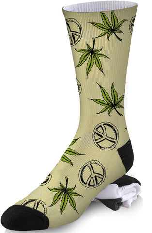 Peace and Pot Vintage Design Socks
