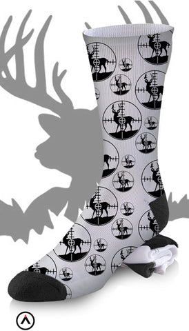 Black and White Deer Hunting Buck Silhouette in the Cross Hairs Socks