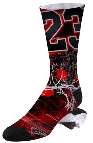 Nike Inspired Michael Jordan Number 23 Paint Covered Basketball Socks