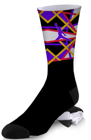 Black and Neon Line Design Jordan Inspired Socks