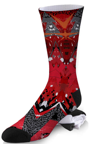 Red and Black Angular Abstract Socks