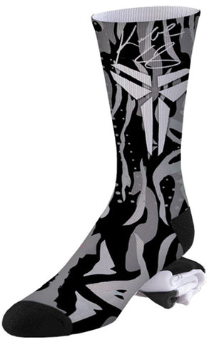 Black, White, and Grey Kobe Camo Socks