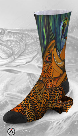 Fishing Fans Artistic Orange and Blue Rendered Sock