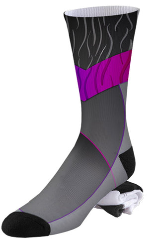 Grey on Grey and Pink Abstract Design Pro Series Socks