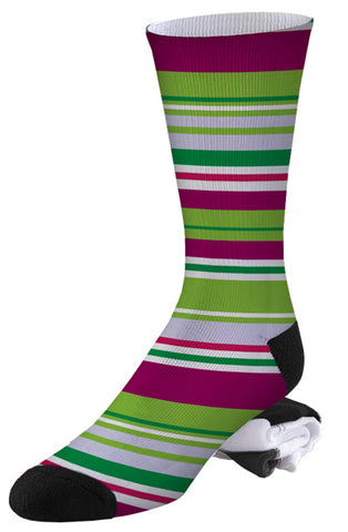 Magenta and Green Stripe Pro Series Socks