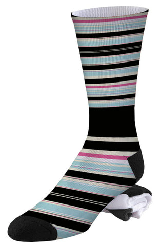 Pale Blue, Black and Pink Stripe Pro Series Socks