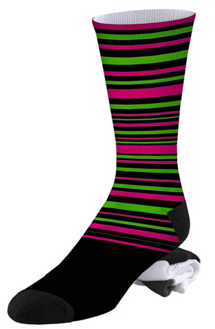 Black, Green and Pink Stripe Pro Series Socks