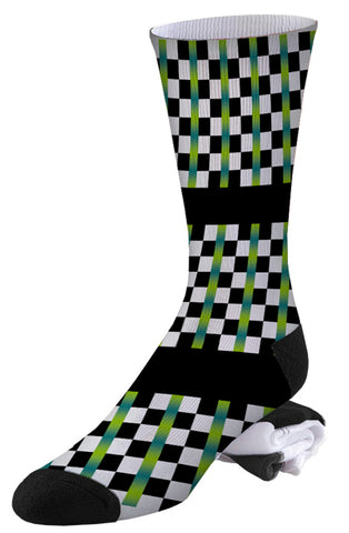 Blue-green, Black and White Check Pro Series Socks