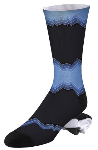 Black and Blue Jagged Color Block Pro Series Socks