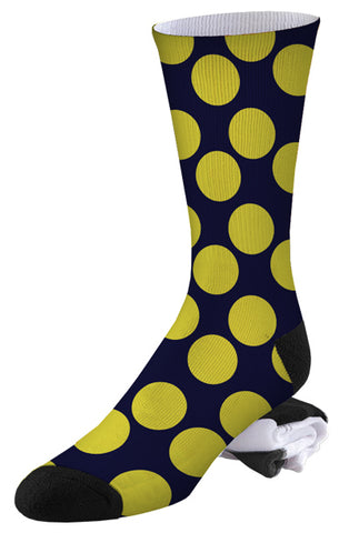 Navy and Yellow Polka Dot Pro Series Socks
