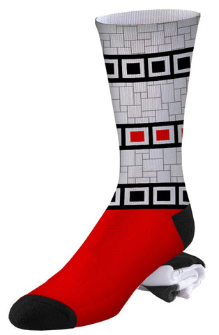 Red, White and Black Squared Up Pro Series Socks