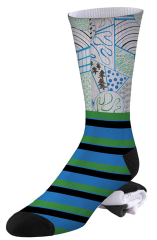 Stripe and Doodle Pro Series Socks