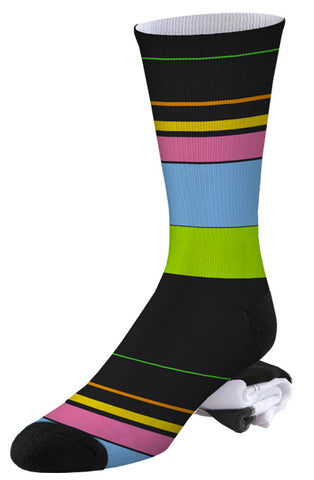 Black and Multi-colored Variable Stripe Pro Series Socks