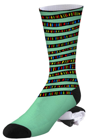 Multi-colored and Mint Stripe Pro Series Socks