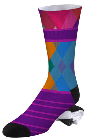 Multi-color Argyle and Stripe Pro Series Socks