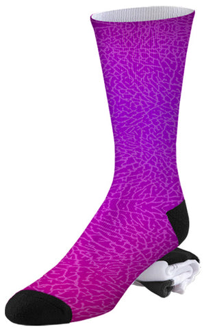 Purple to Pink Crackle Print Socks