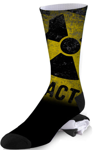 Black and Yellow Toxic Nuclear Warning Sign Radioactive Socks