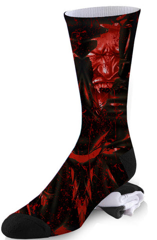 Blood Red Horror Demon Halloween Socks