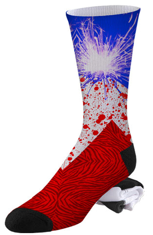 Red White and Blue Sparkling Firework Abstract Art Socks