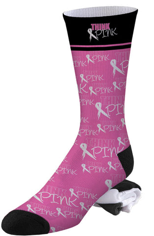 Think Pink Breast Cancer Awareness Stay Strong Socks