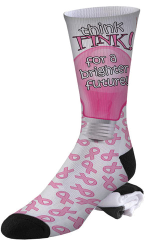 Breast Cancer Awareness Think Pink For a Brighter Future Socks