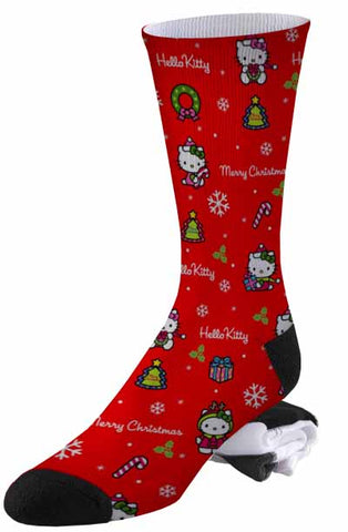 Merry Christmas, Ms. Kitty Red Holiday Socks