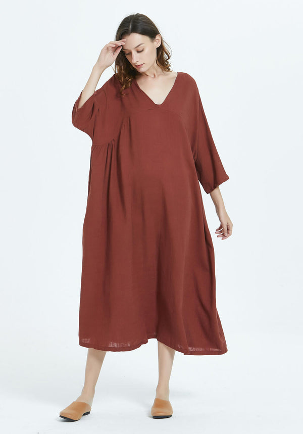 Kaftan Plus Size Cotton linen V-neck Dress with 3/4th sleeves R55