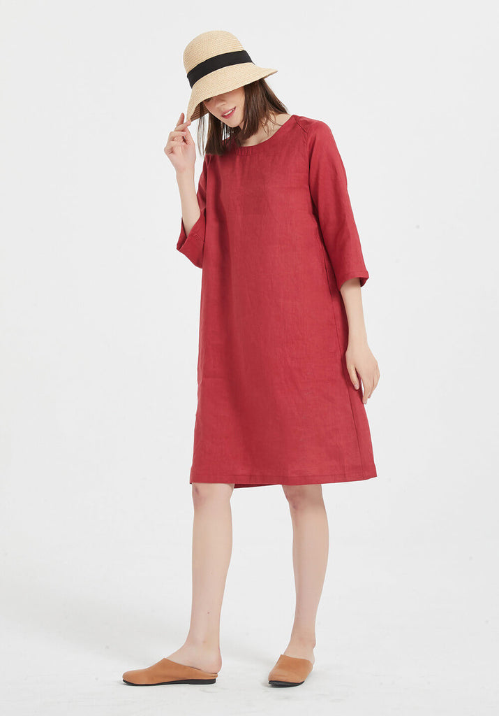 100% Pure Linen round-neck half sleeves midi oversized dress X35-1
