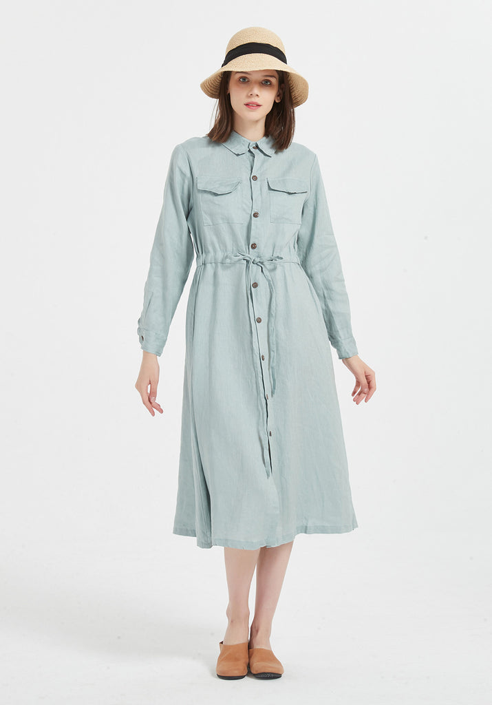 Oversize 100% linen long sleeve midi dress with belt and button X07