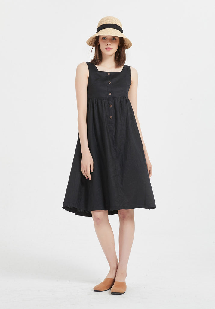 Women 100% linen Sleeveless Summer oversize midi dresses X09