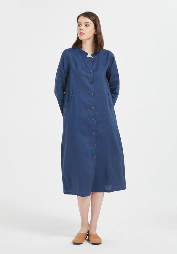 100% pure linen long sleeve midi Plus Size dress X41