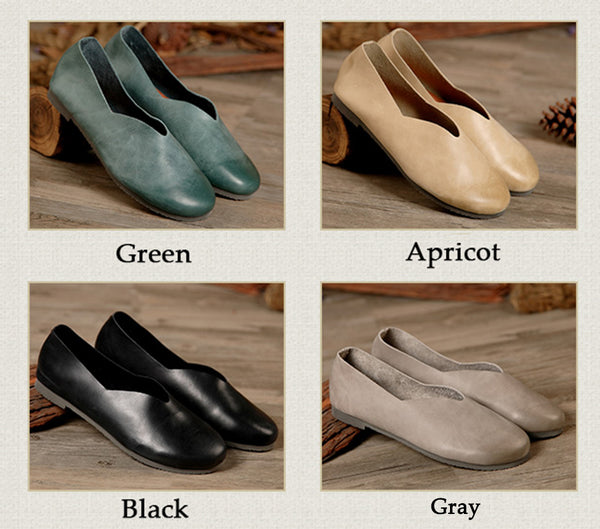Soft Leather Retro Handmade Women's Gifts Flat Casual Arts Leisure Peas Skin Shoes S2