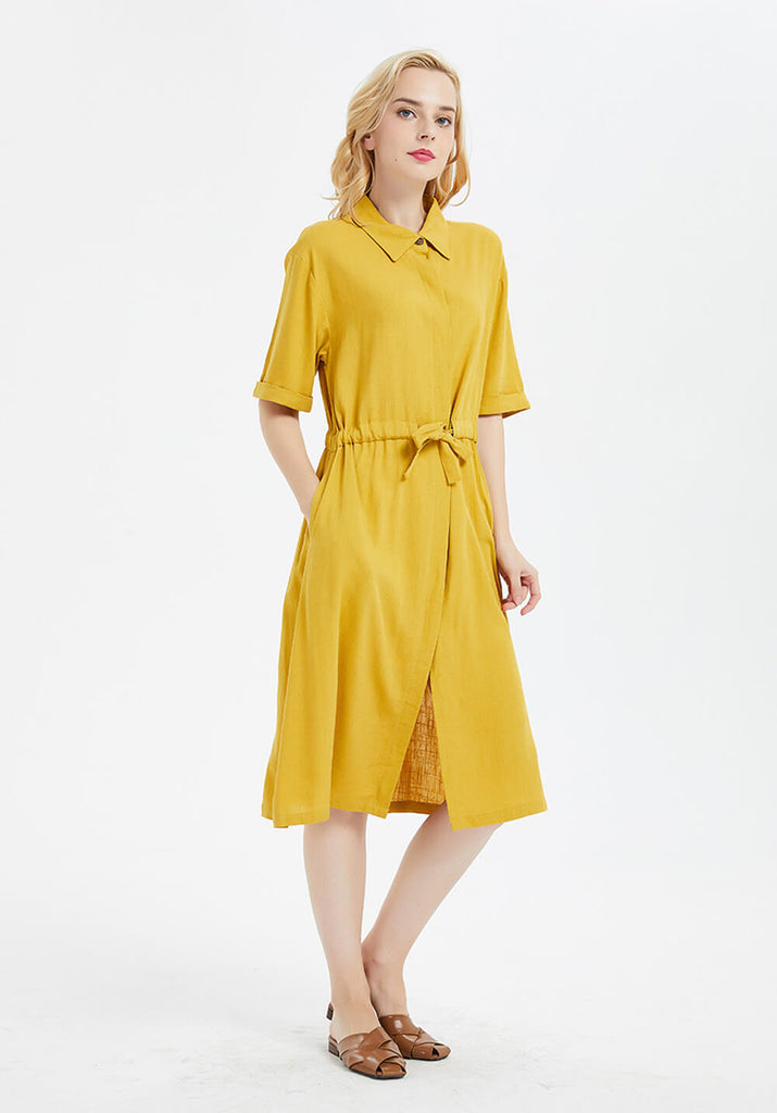Oversize linen and cotton short sleeves long shirt kaftan midi dress with belt R2