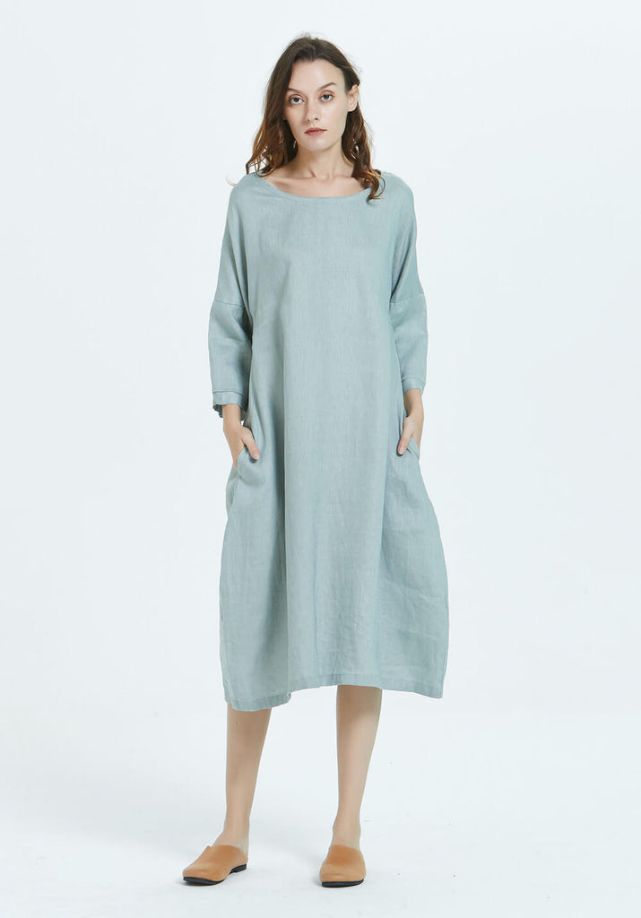 100% linen Round neck long sleeves midi dress with pocket B25