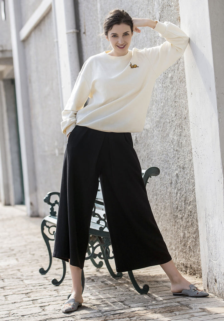 Wool pants wide leg High Waist Winter trousers