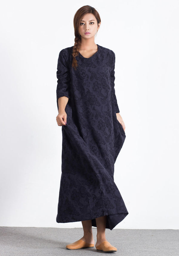 Oversize Linen Cotton Caftan Winter warm Custom-made dress A15