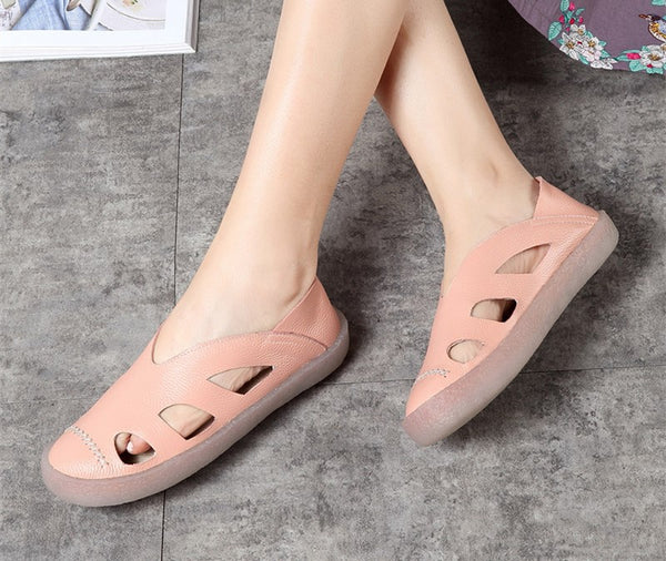 Original handmade leather women's shoes hollow shoes S48