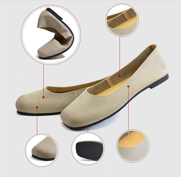 Spring Women's Leather Handmade Flat Shoes S28