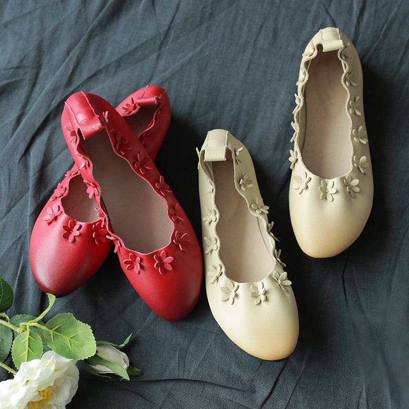Cowhide  cow tendon bottom women's shoes playful cute small floral round head shallow shoes S36