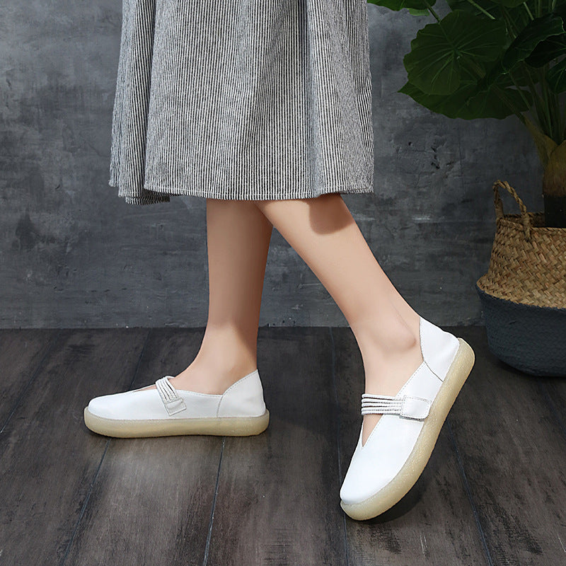 Soft Leather Soft Bottom Mother Shoes Leather Flat Shoes Non-slip Maternity Shoes S12