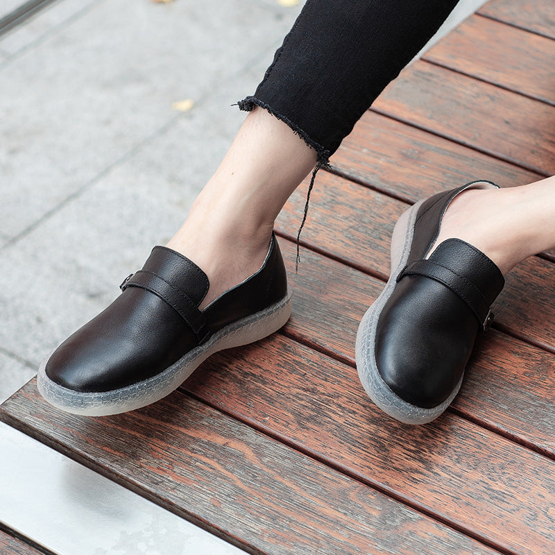 Spring New Single Shoes Female Casual Soft Leather Soft Bottom Round Shoes Flat Bottom S26