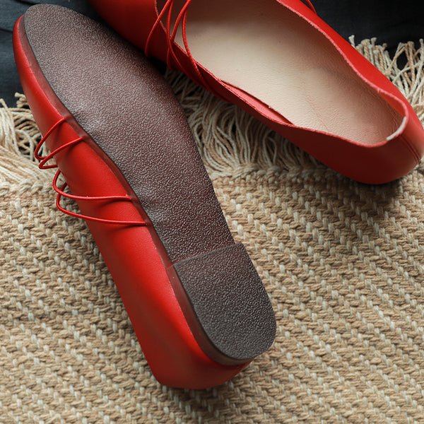 Leather cow tendon bottom elastic band round head shoes S39
