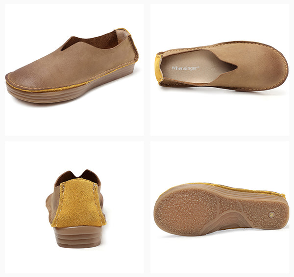 Vintage comfort soft leather soft bottom flat women's shoes S44