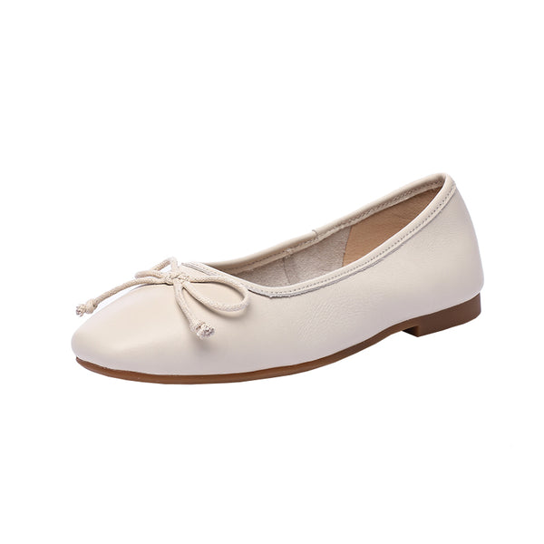 Flat bottom leather shallow mouth pregnant women shoes single bow square head women's shoes S47
