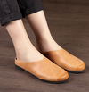 Handmade Leather Slippers Soft Half-totem Women's Flat-bottomed Retro Shoes Sandals S5