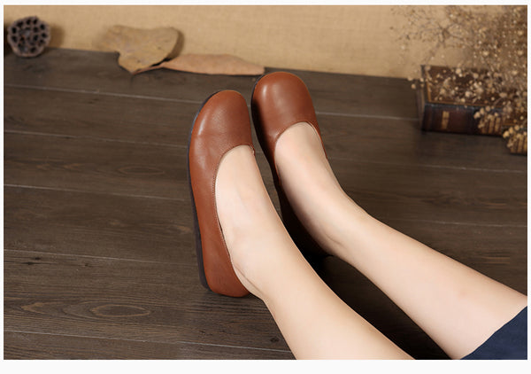 Leather round head shallow mouth handmade shoes casual flat shoes s49