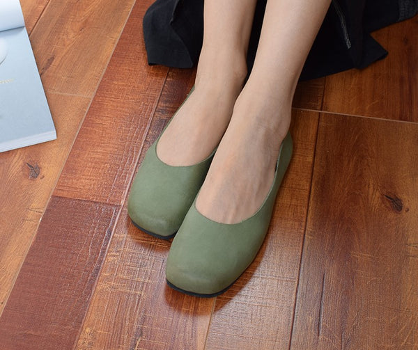 Leather comfortable flat soft leather shallow mouth handmade women's shoes s52