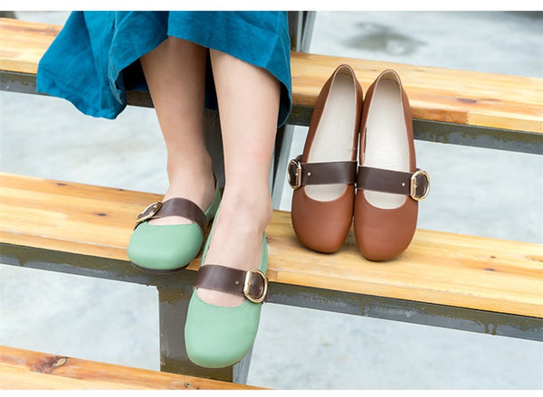 Leather handmade  flat soft leather shoes S43