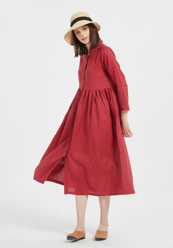 100% Pure Linen long sleeves button-down midi dress X42